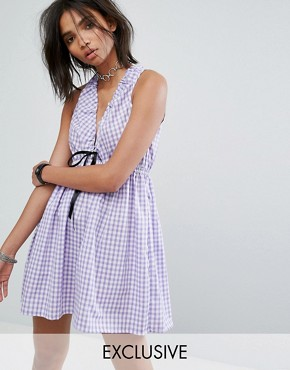 photo Vintage Cutout Mini Dress in Gingham by Milk It, color Purple - Image 1