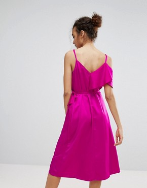 photo Ruffle Wrap Dress by Warehouse Occasion, color Bright Pink - Image 2