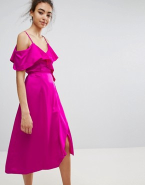 photo Ruffle Wrap Dress by Warehouse Occasion, color Bright Pink - Image 1