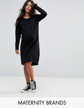 photo Long Sleeve Sweater Dress with Eyelet Lace Up Detail by Supermom, color Black - Image 1