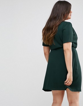 photo Wrap Dress with Ribbon Tie by Fashion Union Plus, color Forest Green - Image 2