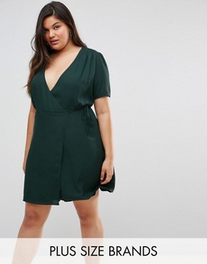 photo Wrap Dress with Ribbon Tie by Fashion Union Plus, color Forest Green - Image 1