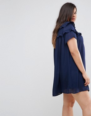 photo High Neck Dress with Double Frill by Fashion Union Plus, color Navy - Image 2