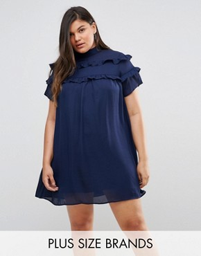 photo High Neck Dress with Double Frill by Fashion Union Plus, color Navy - Image 1