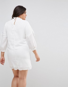 photo Long Sleeve Smock Dress with Ribbon Tie Gathers by Fashion Union Plus, color White - Image 2