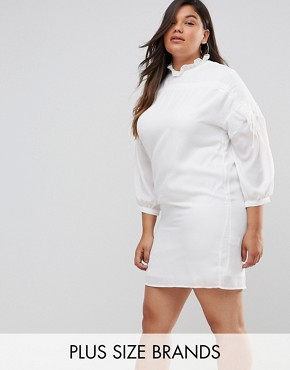 photo Long Sleeve Smock Dress with Ribbon Tie Gathers by Fashion Union Plus, color White - Image 1