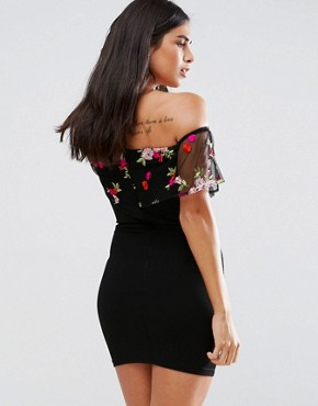 photo Embroidered Off Shoulder Dress by Parisian, color Black - Image 2