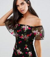 photo Embroidered Off Shoulder Dress by Parisian, color Black - Image 3