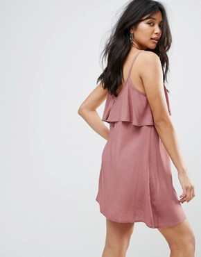 photo Dress with Lace Up Ruffle Front by Glamorous, color Mauve - Image 2