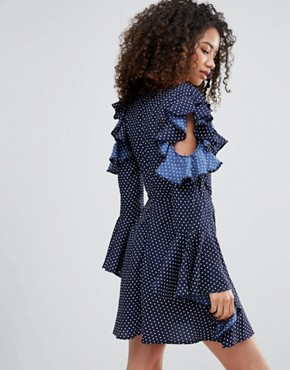 photo Polka Dot Cold Shoulder Dress with Ruffle Sleeves by Influence, color Navy Polka - Image 2