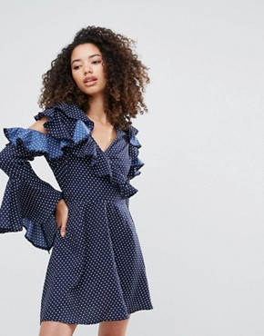 photo Polka Dot Cold Shoulder Dress with Ruffle Sleeves by Influence, color Navy Polka - Image 1