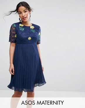 photo Embroidered Mini Pleat and Lace Dress by ASOS Maternity, color Navy - Image 1