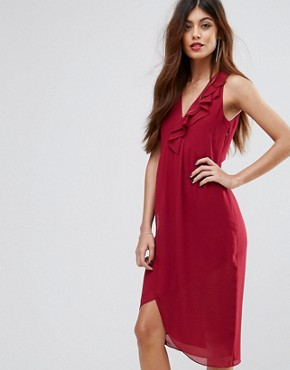 photo Frill Midi Dress by Sisley, color Berry - Image 1
