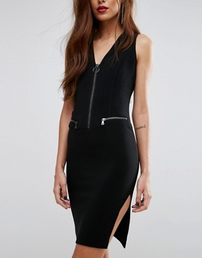photo Zip Up Pencil Dress by Sisley, color Black - Image 3