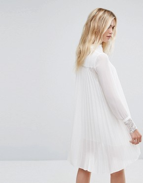 photo Shirt Dress with Lace Trims by Sisley, color Off White - Image 2