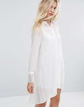 photo Shirt Dress with Lace Trims by Sisley, color Off White - Image 1