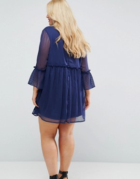 photo Smock Dress with Flare Sleeve by Influence Plus, color Navy - Image 2