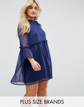 photo Smock Dress with Flare Sleeve by Influence Plus, color Navy - Image 1