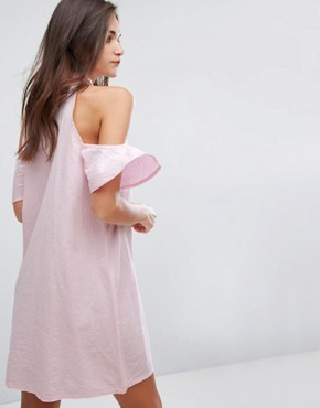 photo Cold Shoulder Shirt Dress by Influence, color Pink White Stripe - Image 2