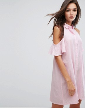 photo Cold Shoulder Shirt Dress by Influence, color Pink White Stripe - Image 1