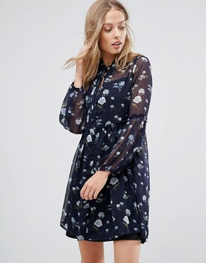 photo Floral Lace Up Smock Dress by Influence, color Navy Floral - Image 1