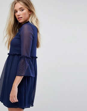 photo Smock Dress with Flare Sleeve by Influence, color Navy - Image 2