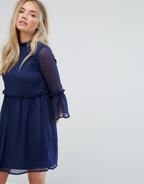 photo Smock Dress with Flare Sleeve by Influence, color Navy - Image 1