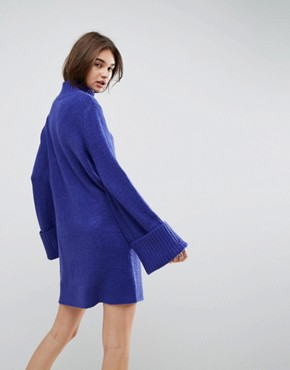 photo Knitted Swing Dress with Extreme Turn Back Cuff by ASOS, color Cobalt - Image 2