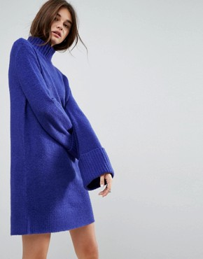 photo Knitted Swing Dress with Extreme Turn Back Cuff by ASOS, color Cobalt - Image 1