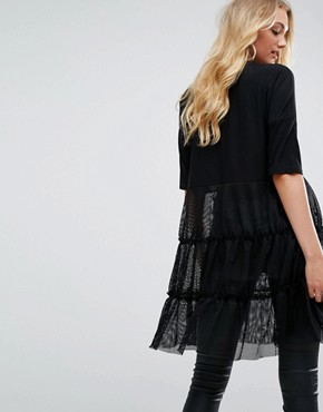 photo Tiered Lace Dress by Noisy May Tall, color Black - Image 2