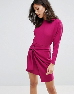 photo Batwing Mini Dress with Wrap Skirt by ASOS, color Purple - Image 1