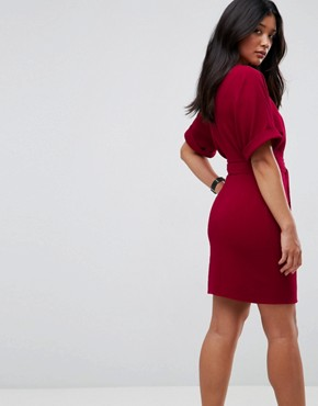 photo Mini Pencil Dress with D-Ring Belt by ASOS ULTIMATE, color Red - Image 2
