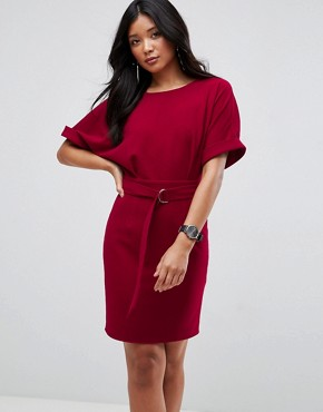 photo Mini Pencil Dress with D-Ring Belt by ASOS ULTIMATE, color Red - Image 1