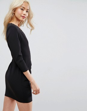 photo Sexy Ruched Mini Dress with Shoulder Pads and Hardware Detail by ASOS, color Black - Image 2