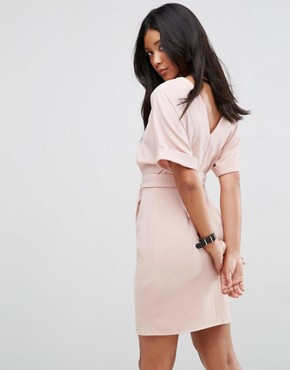 photo Mini Pencil Dress with D-Ring Belt by ASOS ULTIMATE, color Blush - Image 2