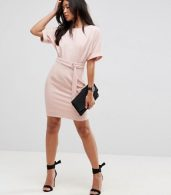 photo Mini Pencil Dress with D-Ring Belt by ASOS ULTIMATE, color Blush - Image 4