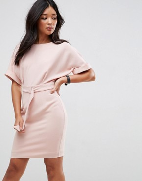 photo Mini Pencil Dress with D-Ring Belt by ASOS ULTIMATE, color Blush - Image 1