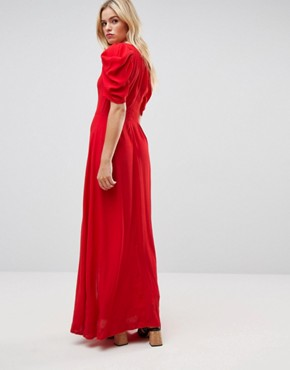 photo Short Sleeve Button Through Maxi Dress by ASOS, color Red - Image 2