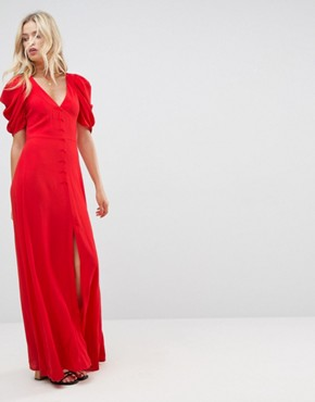 photo Short Sleeve Button Through Maxi Dress by ASOS, color Red - Image 1