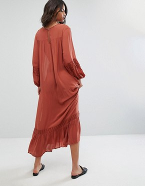 photo Embroidered Smock Dress by Mango, color Red - Image 2