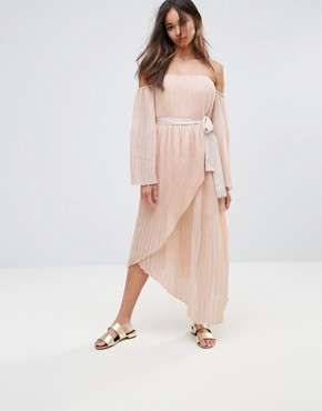 photo Valentine Crimped Off Shoulder Flared Sleeve Midi Dress by Isla, color Dusty Pink - Image 1