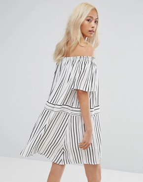 photo Off Runaway Off Shoulder Printed Dress by Isla, color Black/White - Image 2