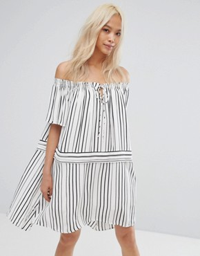 photo Off Runaway Off Shoulder Printed Dress by Isla, color Black/White - Image 1