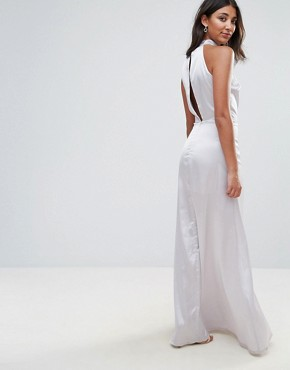 photo High Neck Cross Over Panel Maxi Dress by Oh My Love, color Silver - Image 2
