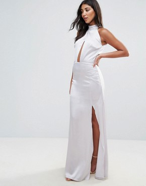 photo High Neck Cross Over Panel Maxi Dress by Oh My Love, color Silver - Image 1