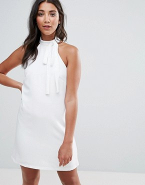 photo Shift Dress with Tie Detail by Oh My Love, color Ivory - Image 1