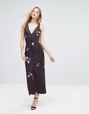 photo Button Down Cami Midi Dress by Oh My Love, color Abstract Pansey - Image 1