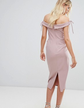 photo Off Shoulder Midi Pencil Dress by Oh My Love, color Mink - Image 2