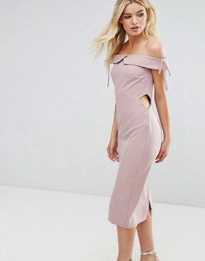 photo Off Shoulder Midi Pencil Dress by Oh My Love, color Mink - Image 1