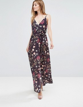 Wrap Printed Maxi Dress By Oh My Love Dark Floral